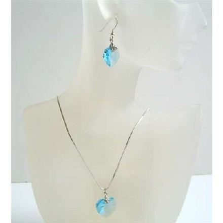 Blue Aquamarine Swarovski Sexy Heart Pendant Earrings Necklace Jewelry Set