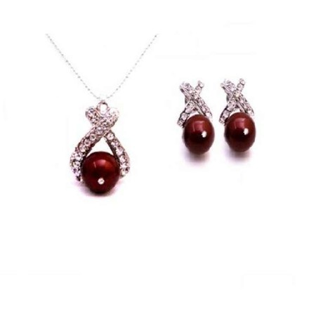 Red/Bordeaux Attractive Party Compatible Necklace Jewelry Set