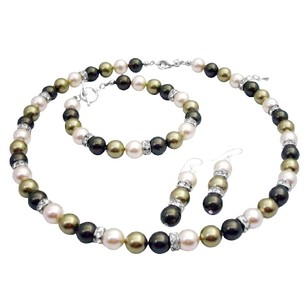 Green & Cream Tricolor Pearls Mother Of Bride Jewelry Set