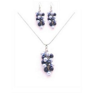 Best Jewelry Gifts For Bridesmaids Light Dark Blue Pearls Necklace Set