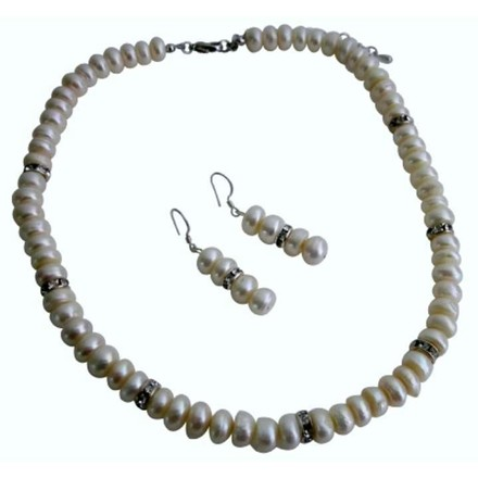 Bridal Bridesmaid Jewelry Sets Ivory Freshwater Pearls Diamond Spacer