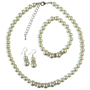 Bridal Bridesmaid Wedding Ivory Pearls W/ Silver Diamante Jewelry Set