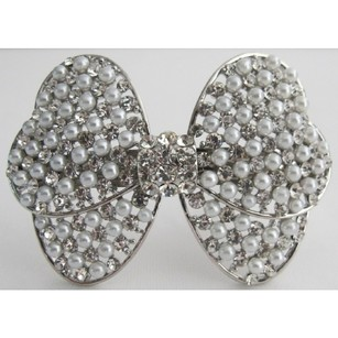 Bridal Hair Barrette White Pearls & Simulated Diamond Bow Hair Clip