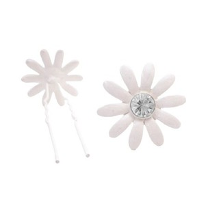 Bridal Wedding Hair Accessories White Flower Clear Crystals Hair Pin