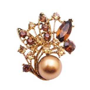 Bronze Pearl Prom Flower Girl Bridesmaid Jewelry Holiday Gift Smoked Topaz Gold Plated Brooch