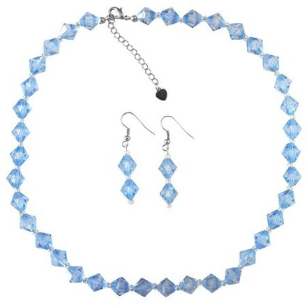 Cheap Wedding Jewelry In Blue Crystals W/ Silver Beads Spacer Set