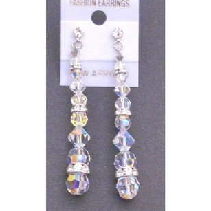 Clear Ab Comet Argent Light Swarovski Crystal with Cz Surgical Post Earrings