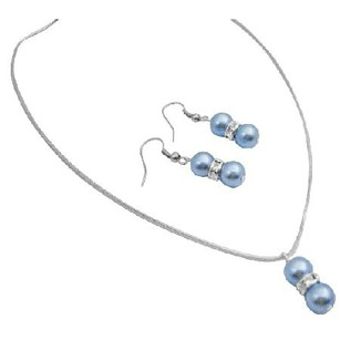 Blue Cool / Silver Rondells Spacer Jewelry Set