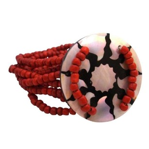 Coral Red W/ Multi Stranded Stretchable / Round Shell Bracelet
