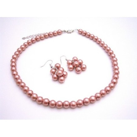 Orange Brick Dangling Grape Pearl Earrings Match Guava Necklace Jewelry Set