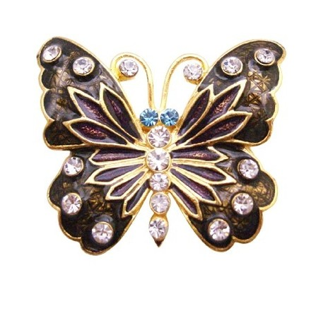 Decorative Stylish Pretty Brown Enamel Butterfly Holiday Gift Brooch