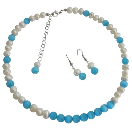 Blue/White Enchanting Bridesmaid Prom Freshwater Pearls Cat Eye Jewelry Set