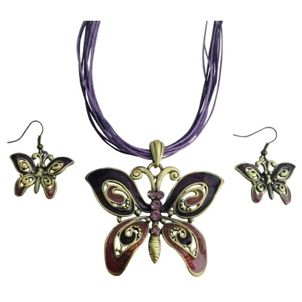 Ethnic Amethyst Rhinestones Purple Enameled Butterfly Necklace Set