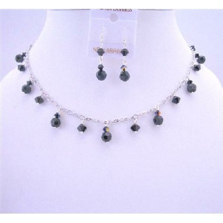 Black Evening Party Necklace Ab Swarovski Jet Crystals Jewelry Set