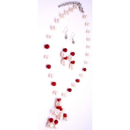 Off White/Coral Red Eye Catching Handmade Freshwater Pearls Necklace Earring Jewelry Set