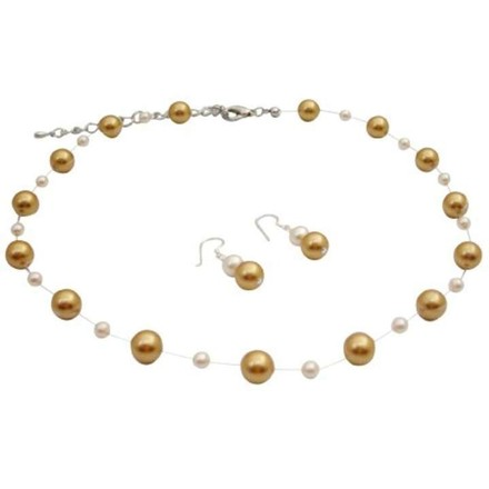Harvest Gold/Ivory Pearls Pearls Jewelry Set