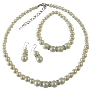 Faux Cream Pearls Bridesmaid Jewelry Set Sterling Silver 92.5 Earrings W/ Stretchable Bracelet