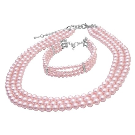 Pink Gift Ideas Personalized Occasion Gift Necklace Bracelet Jewelry Set