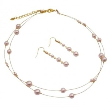 Gold Plated Ivory Pearls Necklace & Earring Sets For Bridemaids
