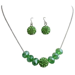 Green Inexpensive Crystals Jewelry Set