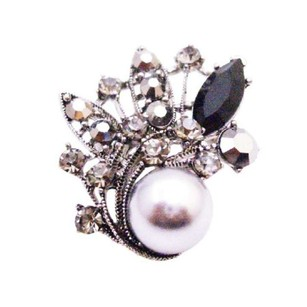 Great Gift Idea Grey Pearl Brooch With Black Diamond Crystals Employee Christmas Holiday Gift