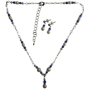 Handmade Jewelry Genuine Swarovski White Pearls Sapphire Crystals Set