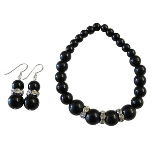 Handmade Stretchable Black Pearl Bracelet Matching Earrings Wedding Gift
