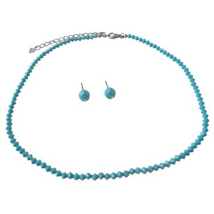 Handmade Swarovski Turquoise Crystals Necklace & Stud Earrings Jewelry