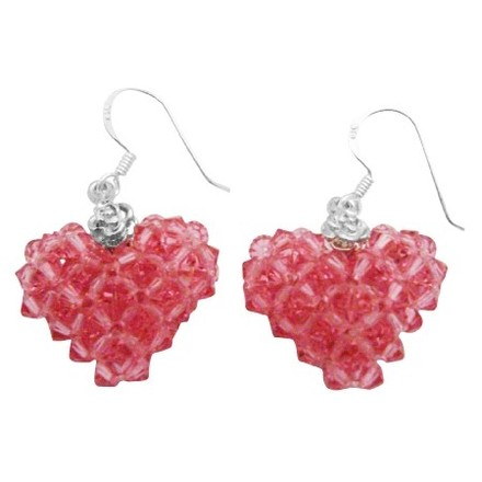 Pink/Rose Holiday Gift To Your Love One Puffy Heart Genuine Crystal Sterling Silver Earrings