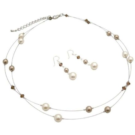 Illusion Bridesmaid Bronze Cream Pearls & Smoked Topaz Crystals Set