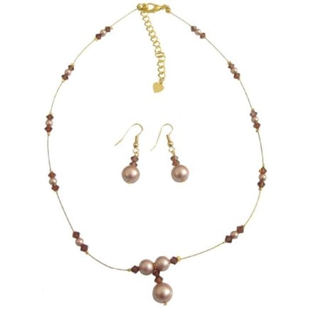 Champagne & Brown Illusion Crystals Pearls Necklace Jewelry Set