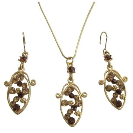 Brown/Gold Inexpensive Smoked Topaz Party Crystals Jewelry Set