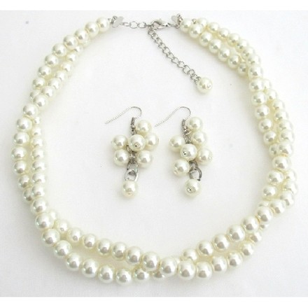 Ivory Pearl Twisted Necklace With Matching Grape Earrings Perfect Gorgeous Jewelry
