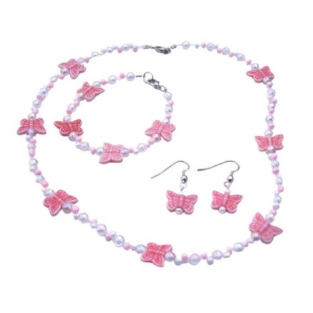 White/Pink Butterfly Tiny Bead Necklace Earrings Bracelet Jewelry Set