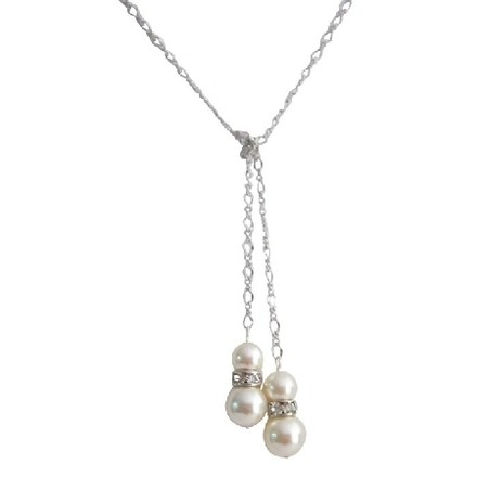Lariat Necklace Ivory Pearls With Diamante Spacer