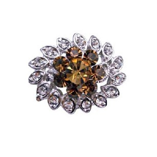 Silver/Brown Multipurpose Smoked Topaz Clear Crystals Plated Brooch/Pin