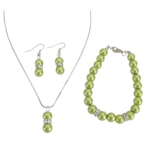Olive Green Pearl Jewelry Necklace Earrings Bracelet Drop Pearl Pendant Set