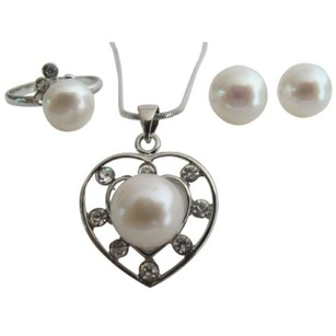 White Oyster Shell Pearls Heart Pendant Stud Earring Ring Jewelry Set