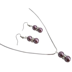 Burgundy Pageant Prom Pearls Necklace Earrings Jewelry Set