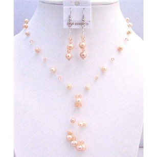 Prom Swarovski Peach Pearls Crystals Tassel Drop Down Jewelry Set