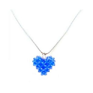 Sapphire Crystals Puffy Heart Handmade Pendant Necklace