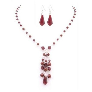 Red Siam Crystals Pearls Teardrop Earrings Confetti Prom Jewelry Set