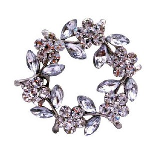 Silver Simulated Diamond Flower with White Leaves Brooch/Pin