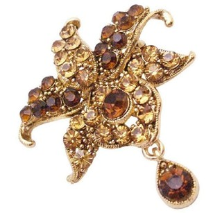 Brown Smoked Topaz Crystals Teardrop Dangling Exclusive Artistic Style Brooch/Pin