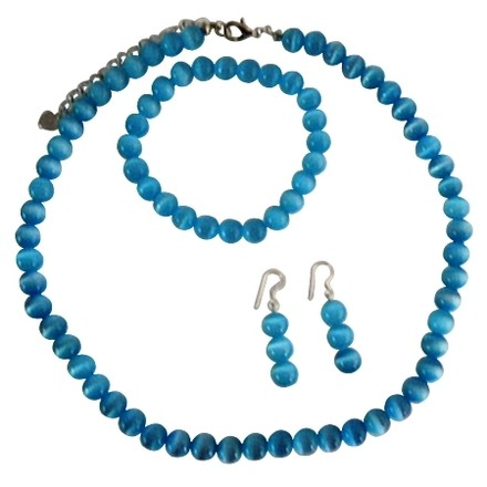 Blue Soothing Cat Eye Necklace Stretchable Bracelet Sterling Earrings Custom Jewelry Set