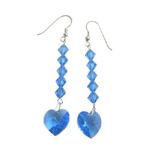 Swarovski Crystal Heart Earrings Lite Sapphire Crystal Beads Dangling Earrings Sterling Silver 92.5 Earrings