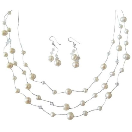 Off White Three Stranded Freshwater Pearls Clear Crystals Jewelry Set