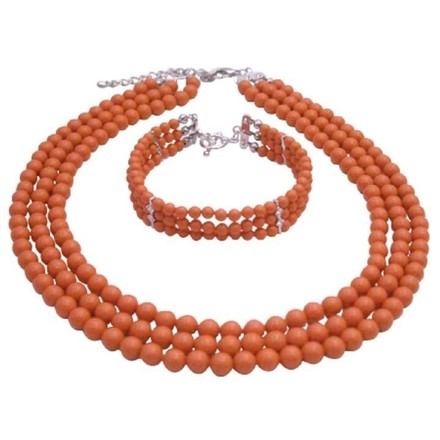 Coral Orange Traditional Anniversary Gifts Skin Pearls Jewelry Set