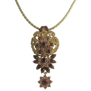 Vintage Inspired Topaz Antique Gold Pendant Necklace Gift For Mother