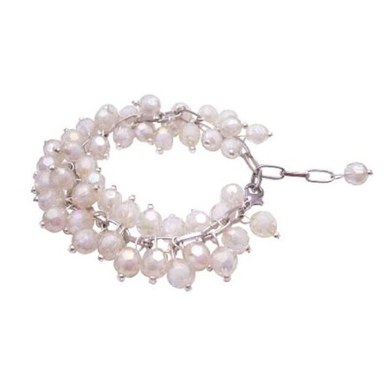 White Ab Off Beads Soft Soothing Color Bracelet